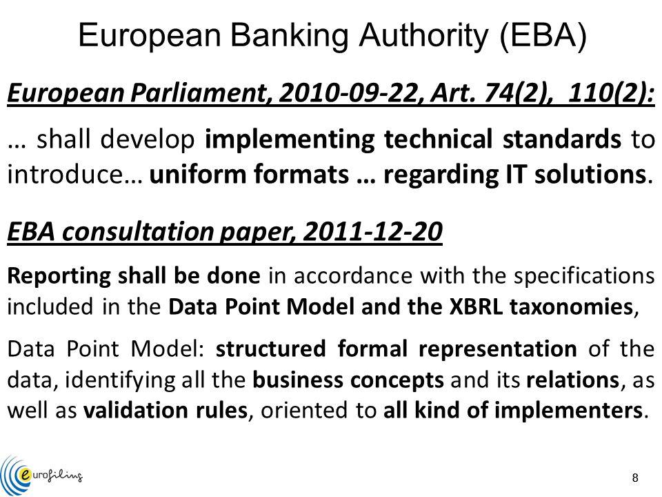888 European Parliament, 2010-09-22, Art. 74(2), 110(2): … shall develop implementing technical standards to introduce… uniform formats … regarding IT