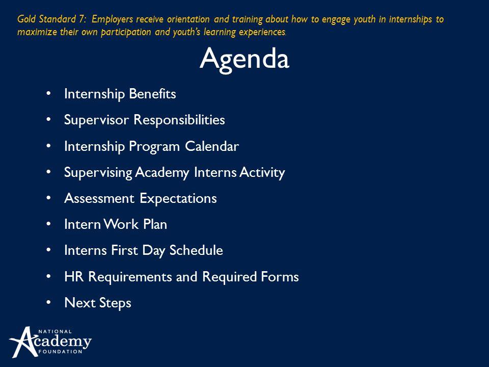 Agenda Internship Benefits Supervisor Responsibilities Internship Program Calendar Supervising Academy Interns Activity Assessment Expectations Intern