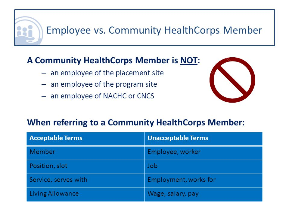 A Community HealthCorps Member is NOT: – an employee of the placement site – an employee of the program site – an employee of NACHC or CNCS When referring to a Community HealthCorps Member: Employee vs.