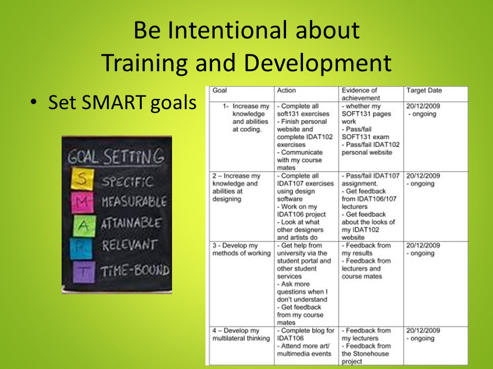 Be Intentional about Training and Development Set SMART goals