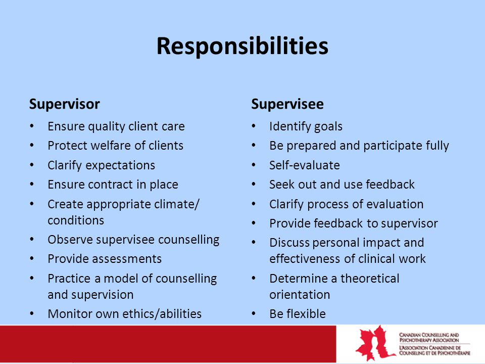 Responsibilities Supervisor Ensure quality client care Protect welfare of clients Clarify expectations Ensure contract in place Create appropriate cli