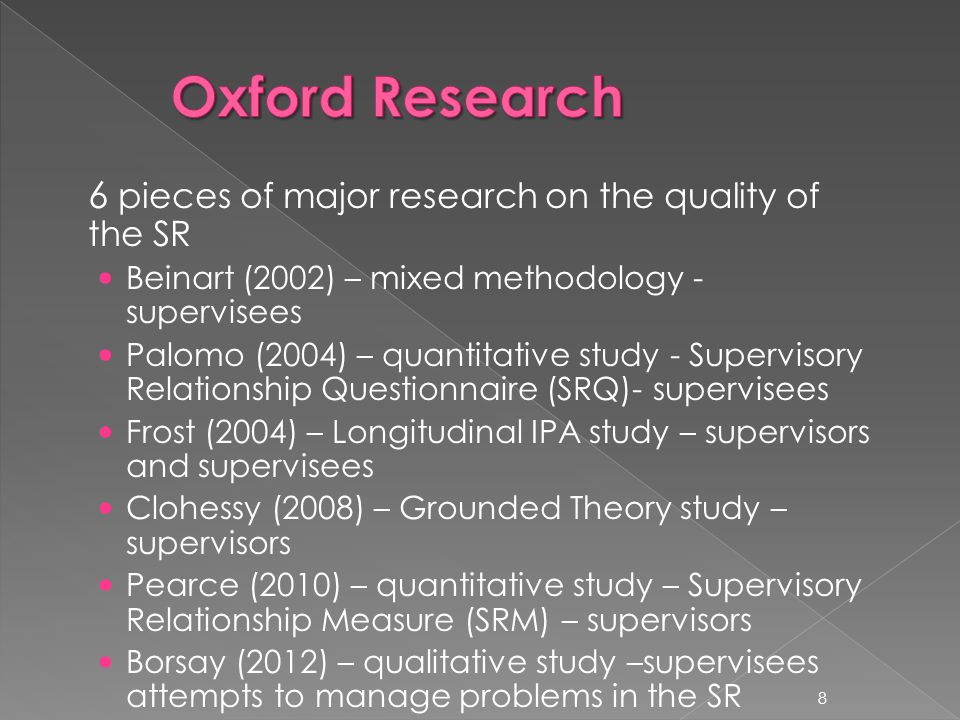 6 pieces of major research on the quality of the SR Beinart (2002) – mixed methodology - supervisees Palomo (2004) – quantitative study - Supervisory Relationship Questionnaire (SRQ)- supervisees Frost (2004) – Longitudinal IPA study – supervisors and supervisees Clohessy (2008) – Grounded Theory study – supervisors Pearce (2010) – quantitative study – Supervisory Relationship Measure (SRM) – supervisors Borsay (2012) – qualitative study –supervisees attempts to manage problems in the SR 8