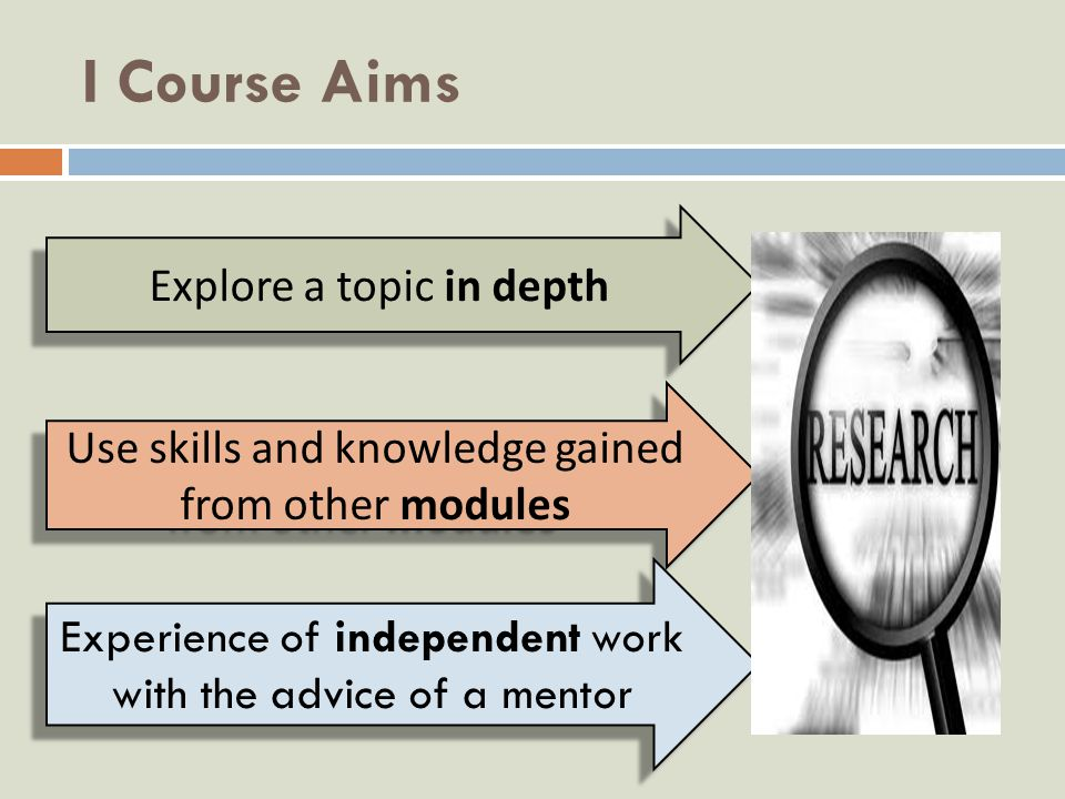I Course Aims Explore a topic in depth Use skills and knowledge gained from other modules Experience of independent work with the advice of a mentor