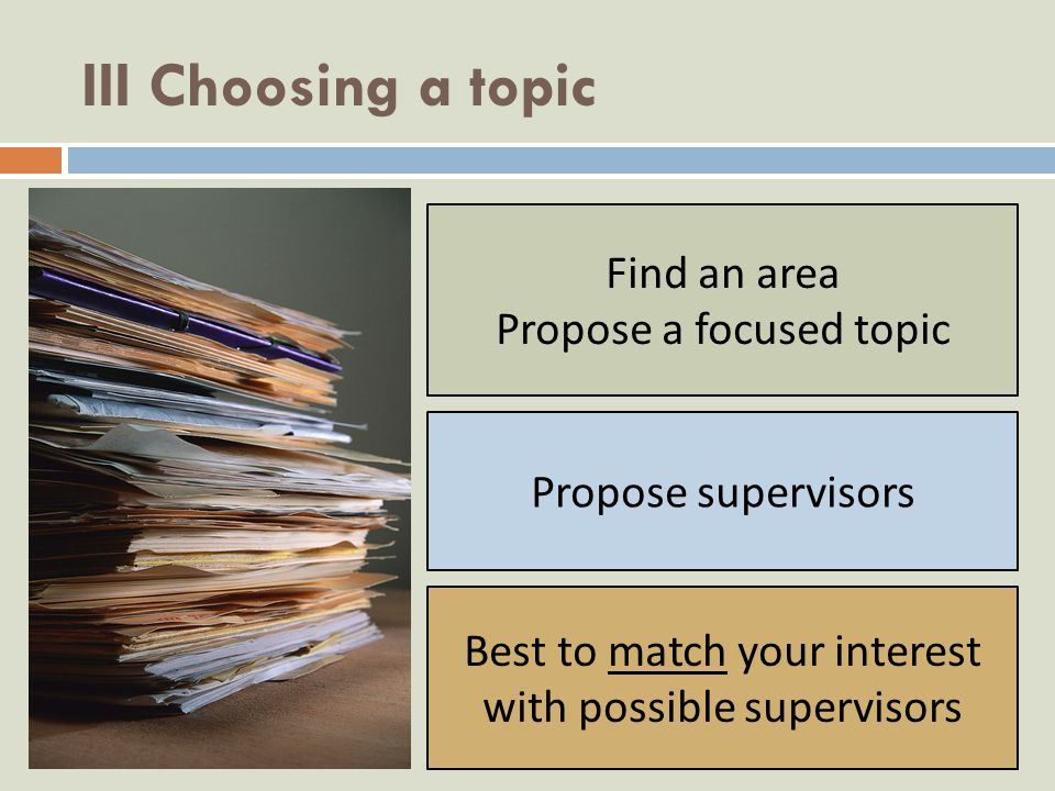 III Choosing a topic Find an area Propose a focused topic Propose supervisors Best to match your interest with possible supervisors