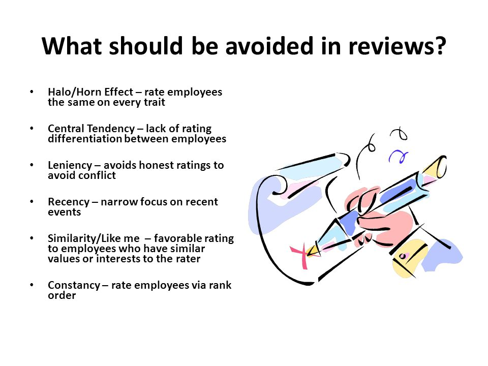 What should be avoided in reviews.