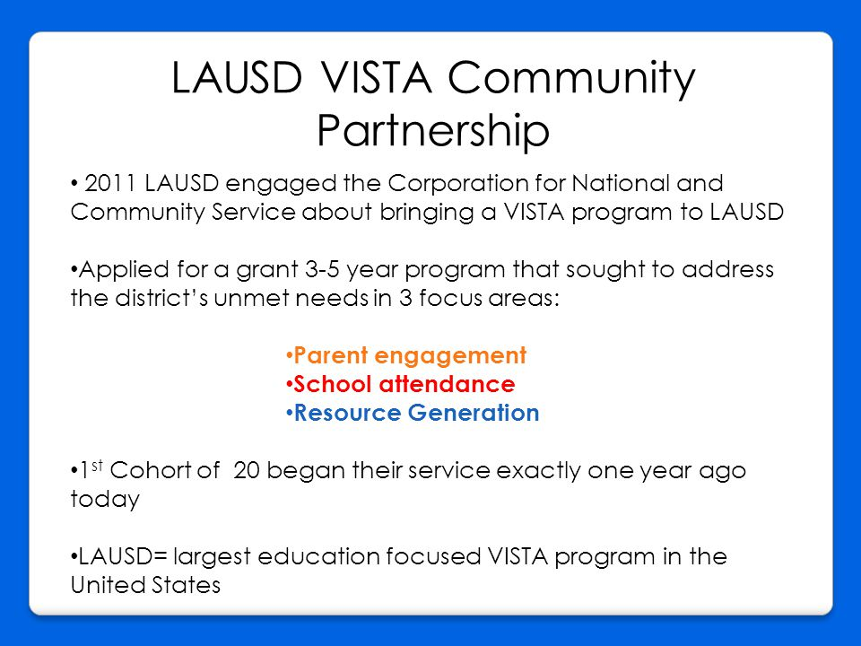 LAUSD VISTA Community Partnership 2011 LAUSD engaged the Corporation for National and Community Service about bringing a VISTA program to LAUSD Applied for a grant 3-5 year program that sought to address the district's unmet needs in 3 focus areas: Parent engagement School attendance Resource Generation 1 st Cohort of 20 began their service exactly one year ago today LAUSD= largest education focused VISTA program in the United States