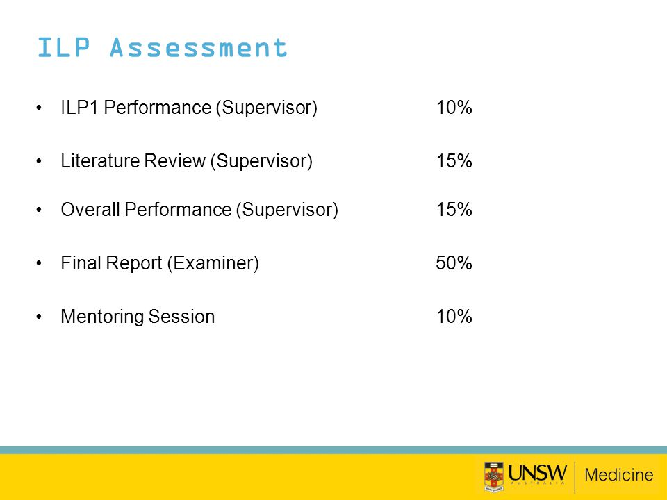 ILP Assessment ILP1 Performance (Supervisor)10% Literature Review (Supervisor)15% Overall Performance (Supervisor)15% Final Report (Examiner)50% Mento