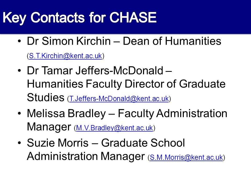Contacts Dr Simon Kirchin – Dean of Humanities (S.T.Kirchin@kent.ac.uk)S.T.Kirchin@kent.ac.uk Dr Tamar Jeffers-McDonald – Humanities Faculty Director