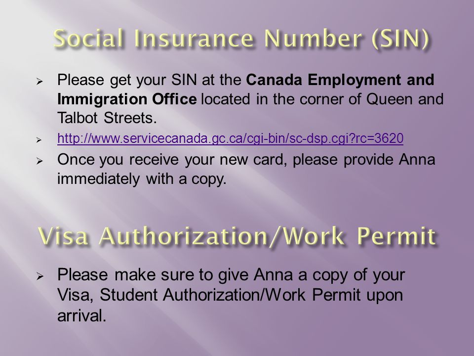  Please get your SIN at the Canada Employment and Immigration Office located in the corner of Queen and Talbot Streets.