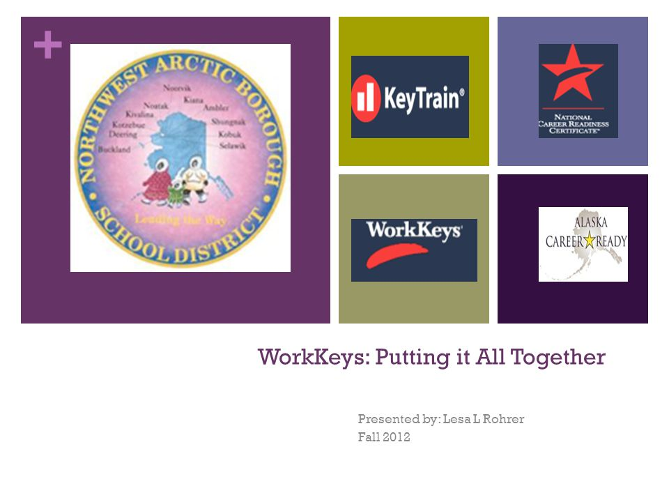 + WorkKeys: Putting it All Together Presented by: Lesa L Rohrer Fall 2012