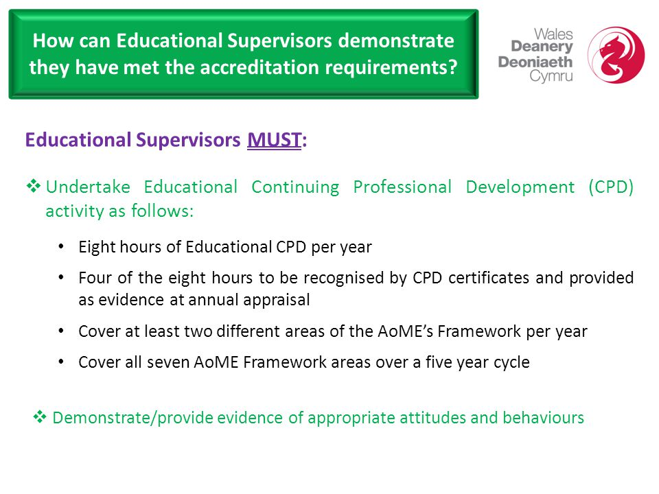 How can Educational Supervisors demonstrate they have met the accreditation requirements.