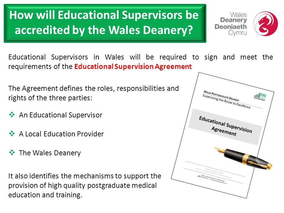 How will Educational Supervisors be accredited by the Wales Deanery.