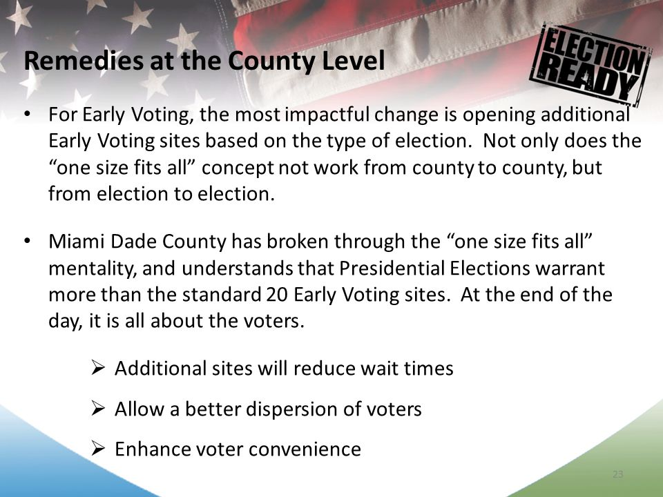 23 For Early Voting, the most impactful change is opening additional Early Voting sites based on the type of election.