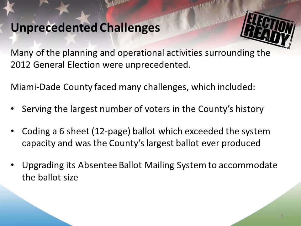7 Processing a record number of Absentee Ballots totaling over 1.2 million ballot pages Introducing pre-printed common ballots pages during Early Voting which reduced the per voter printing time in half Implementing a Supervised Voting Program to further protect the rights of the elderly mail ballot voters Unprecedented Challenges