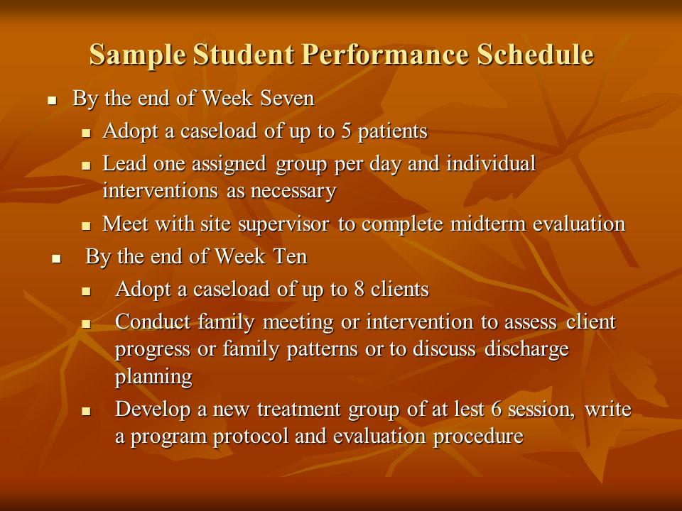 Sample Student Performance Schedule By the end of Week Seven By the end of Week Seven Adopt a caseload of up to 5 patients Adopt a caseload of up to 5 patients Lead one assigned group per day and individual interventions as necessary Lead one assigned group per day and individual interventions as necessary Meet with site supervisor to complete midterm evaluation Meet with site supervisor to complete midterm evaluation By the end of Week Ten By the end of Week Ten Adopt a caseload of up to 8 clients Adopt a caseload of up to 8 clients Conduct family meeting or intervention to assess client progress or family patterns or to discuss discharge planning Conduct family meeting or intervention to assess client progress or family patterns or to discuss discharge planning Develop a new treatment group of at lest 6 session, write a program protocol and evaluation procedure Develop a new treatment group of at lest 6 session, write a program protocol and evaluation procedure