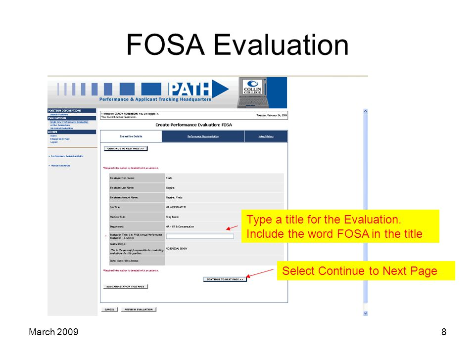 8 FOSA Evaluation Type a title for the Evaluation.