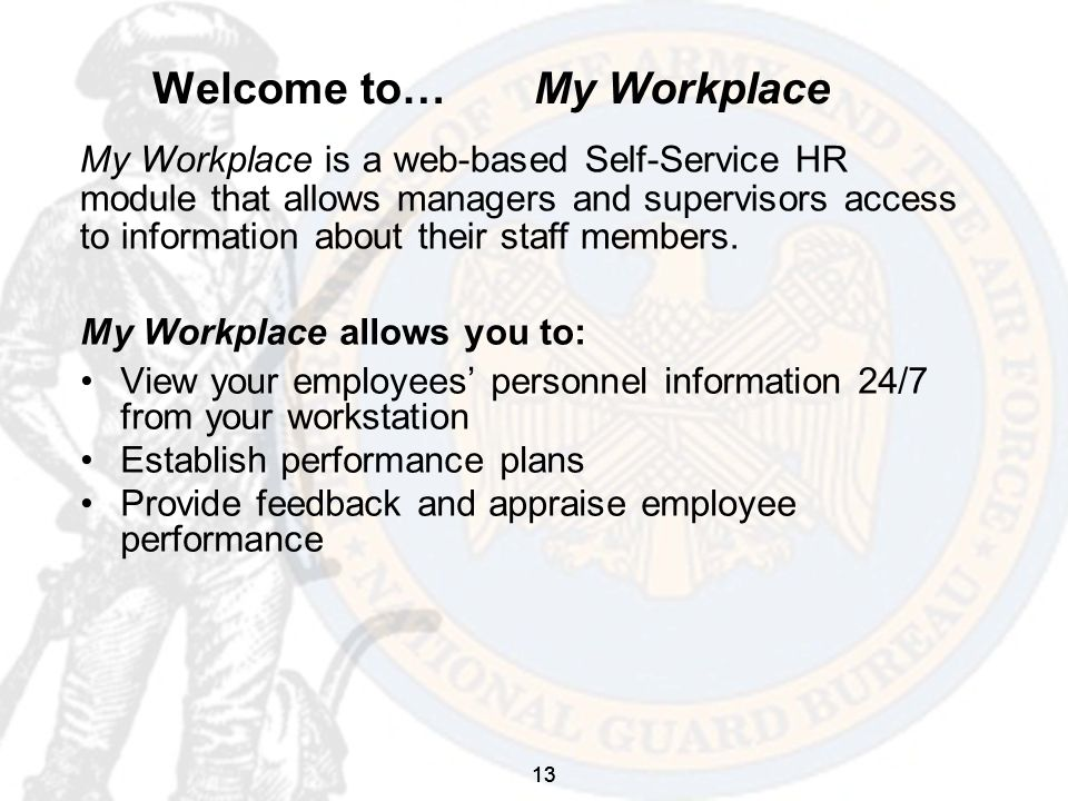 13 Welcome to… My Workplace My Workplace allows you to: View your employees' personnel information 24/7 from your workstation Establish performance plans Provide feedback and appraise employee performance My Workplace is a web-based Self-Service HR module that allows managers and supervisors access to information about their staff members.