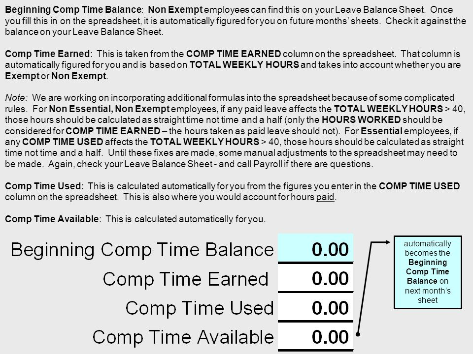 Beginning Comp Time Balance: Non Exempt employees can find this on your Leave Balance Sheet.