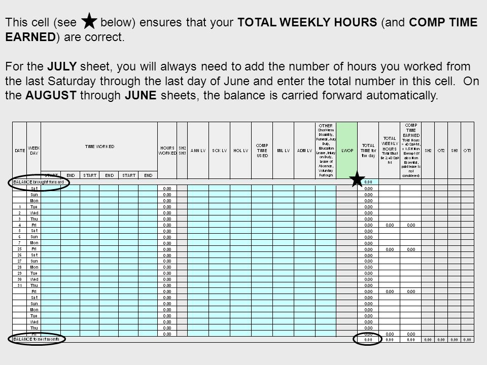 This cell (see below) ensures that your TOTAL WEEKLY HOURS (and COMP TIME EARNED) are correct.