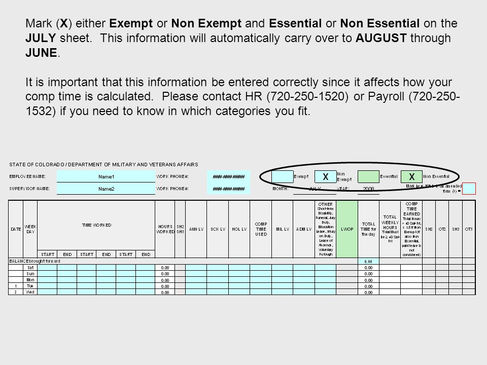 Mark (X) either Exempt or Non Exempt and Essential or Non Essential on the JULY sheet.