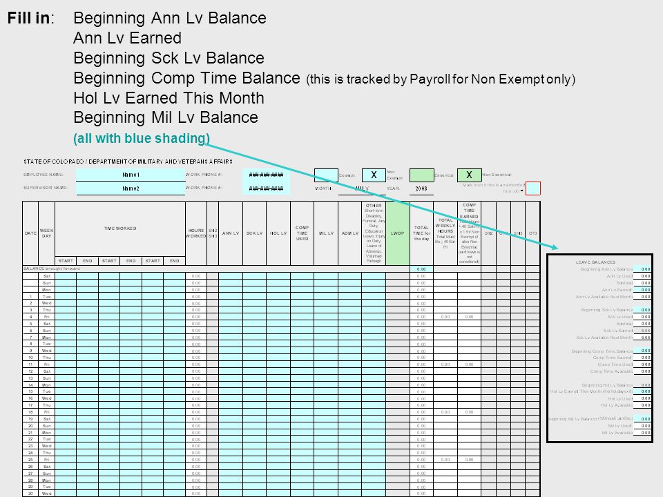 Fill in:Beginning Ann Lv Balance Ann Lv Earned Beginning Sck Lv Balance Beginning Comp Time Balance (this is tracked by Payroll for Non Exempt only) Hol Lv Earned This Month Beginning Mil Lv Balance (all with blue shading)