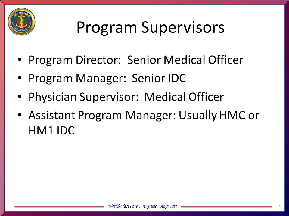 World-Class Care…Anytime, Anywhere Program Supervisors Program Director: Senior Medical Officer Program Manager: Senior IDC Physician Supervisor: Medi