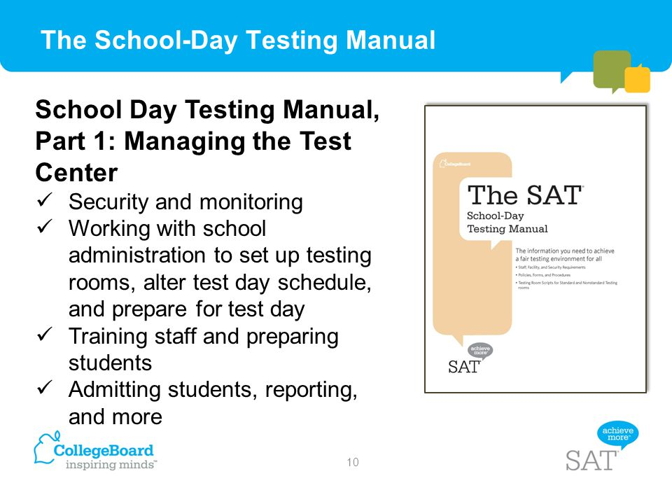 The School-Day Testing Manual School Day Testing Manual, Part 1: Managing the Test Center Security and monitoring Working with school administration t