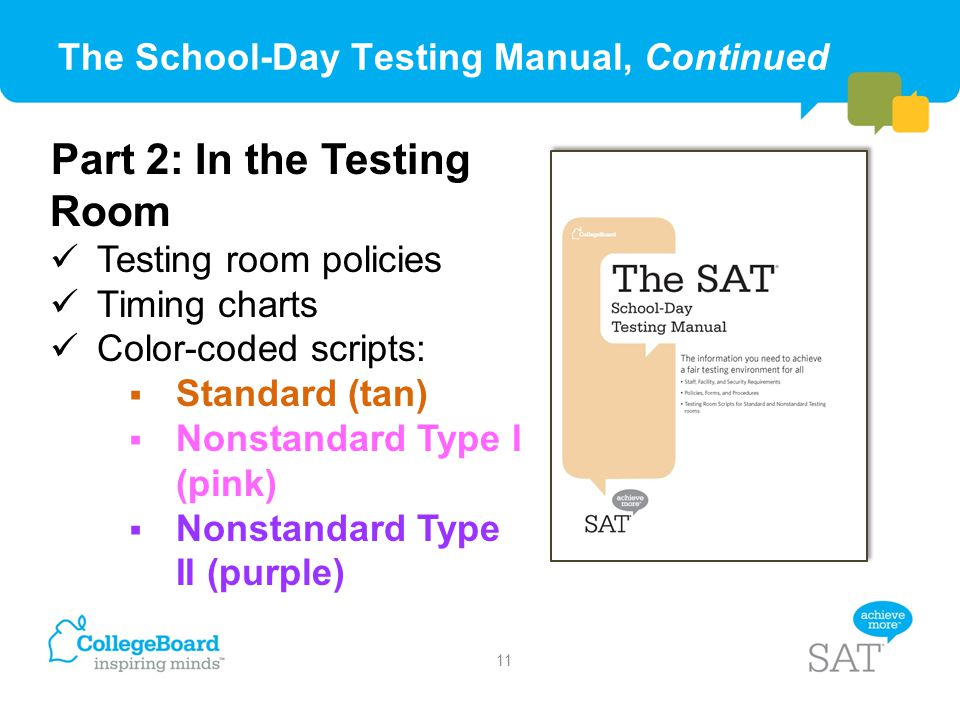 The School-Day Testing Manual, Continued Part 2: In the Testing Room Testing room policies Timing charts Color-coded scripts:  Standard (tan)  Nonst