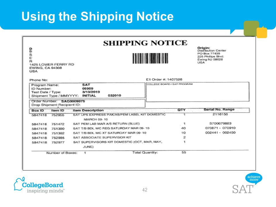 Using the Shipping Notice Requested Sample Shipping Notice 42