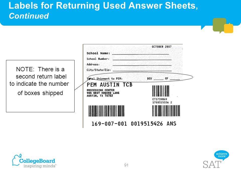 Labels for Returning Used Answer Sheets, Continued NOTE: There is a second return label to indicate the number of boxes shipped 91