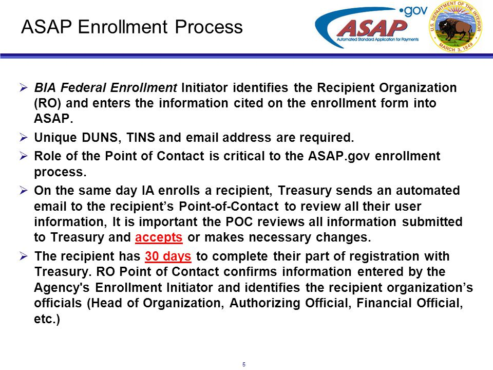 6 ASAP Enrollment Process (cont.)  ASAP allows 31 days for each named role to do their tasks.