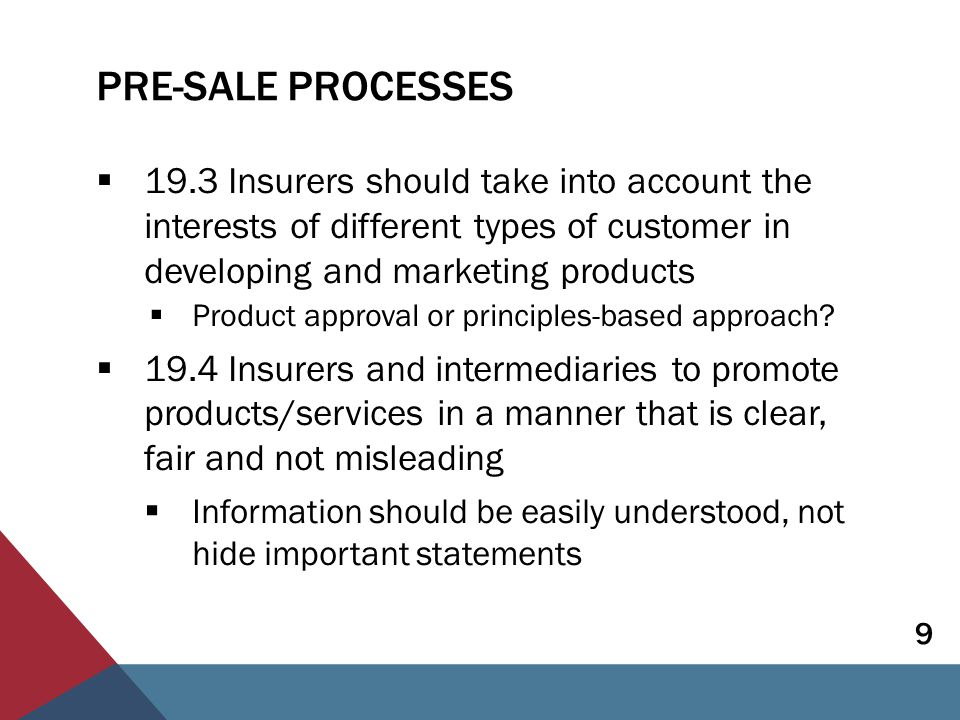 PRE-SALE PROCESSES  19.3 Insurers should take into account the interests of different types of customer in developing and marketing products  Product approval or principles-based approach.