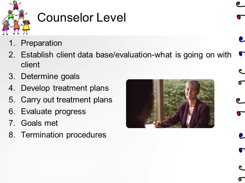 Counselor Level 1.Preparation 2.Establish client data base/evaluation-what is going on with client 3.Determine goals 4.Develop treatment plans 5.Carry out treatment plans 6.Evaluate progress 7.Goals met 8.Termination procedures