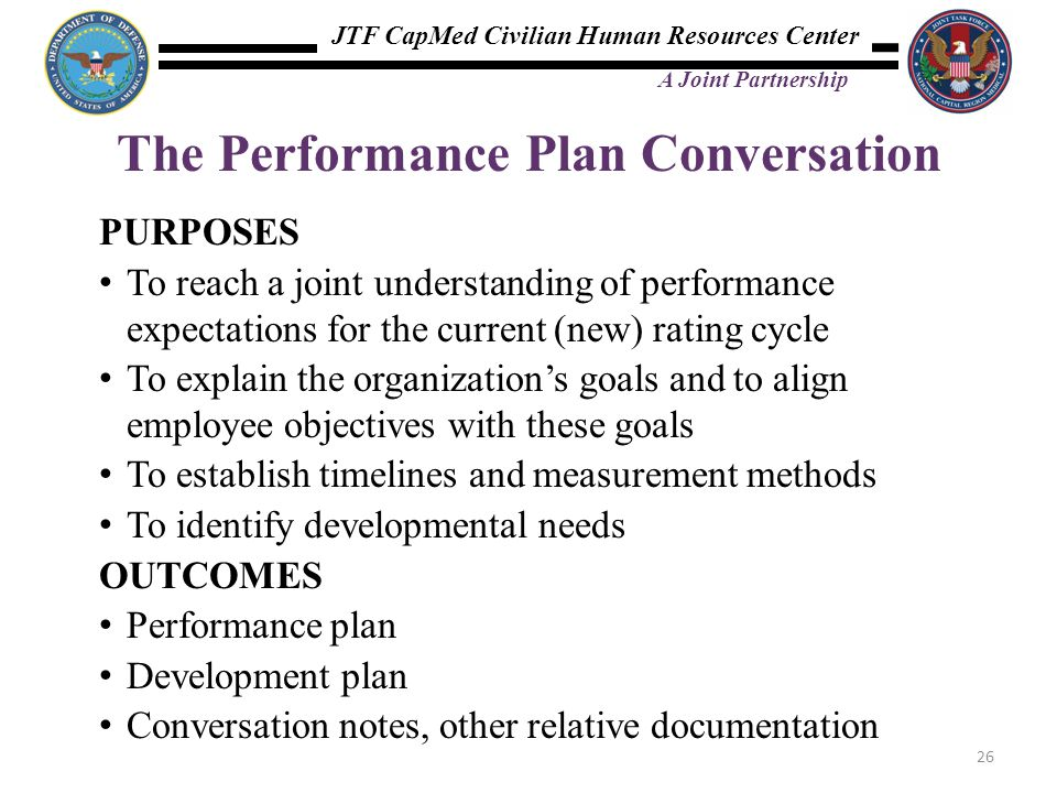JTF CapMed Civilian Human Resources Center A Joint Partnership The Performance Plan Conversation PURPOSES To reach a joint understanding of performanc