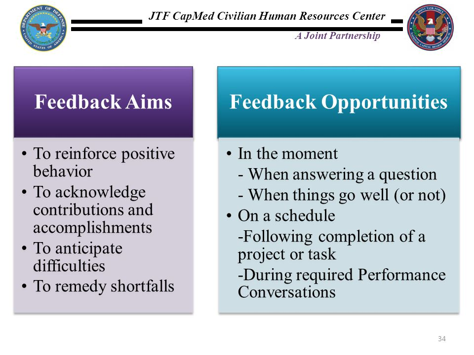 JTF CapMed Civilian Human Resources Center A Joint Partnership Feedback Aims To reinforce positive behavior To acknowledge contributions and accomplishments To anticipate difficulties To remedy shortfalls Feedback Opportunities In the moment - When answering a question - When things go well (or not) On a schedule -Following completion of a project or task -During required Performance Conversations 34