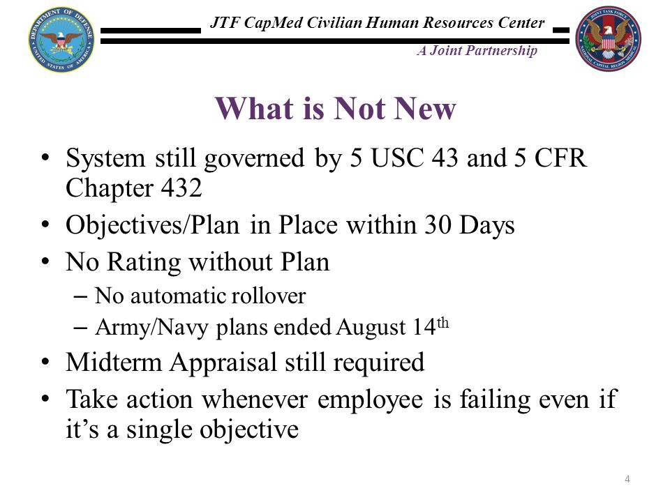 JTF CapMed Civilian Human Resources Center A Joint Partnership What is Not New System still governed by 5 USC 43 and 5 CFR Chapter 432 Objectives/Plan