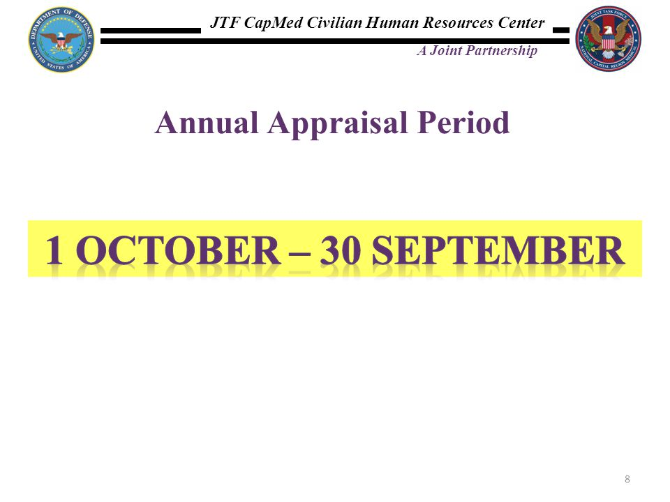 JTF CapMed Civilian Human Resources Center A Joint Partnership Annual Appraisal Period 8
