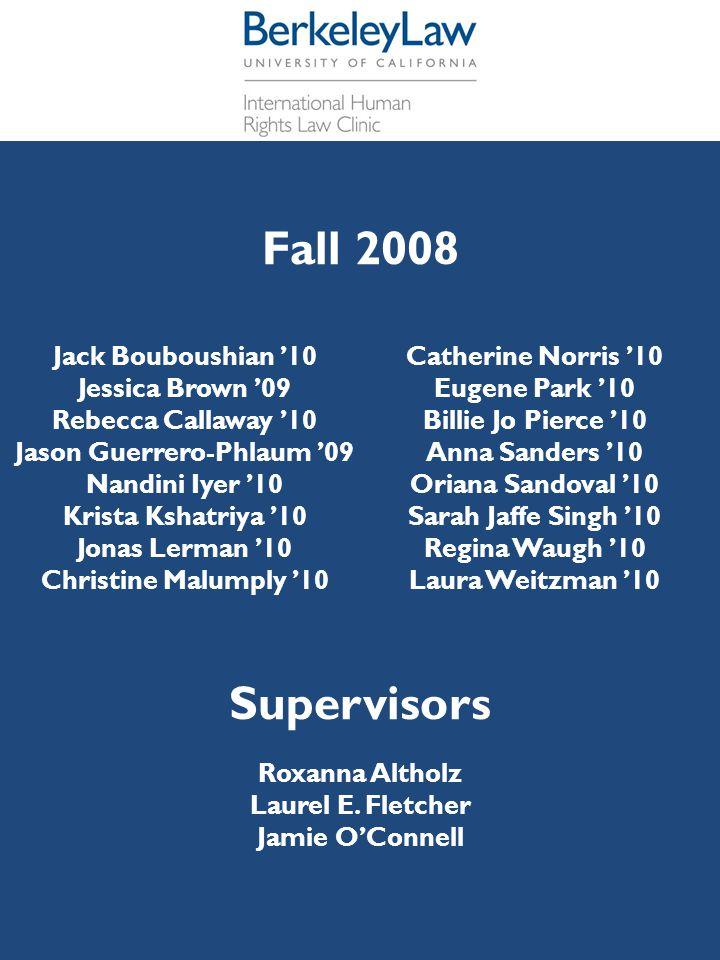 Fall 2008 Jack Bouboushian '10 Jessica Brown '09 Rebecca Callaway '10 Jason Guerrero-Phlaum '09 Nandini Iyer '10 Krista Kshatriya '10 Jonas Lerman '10