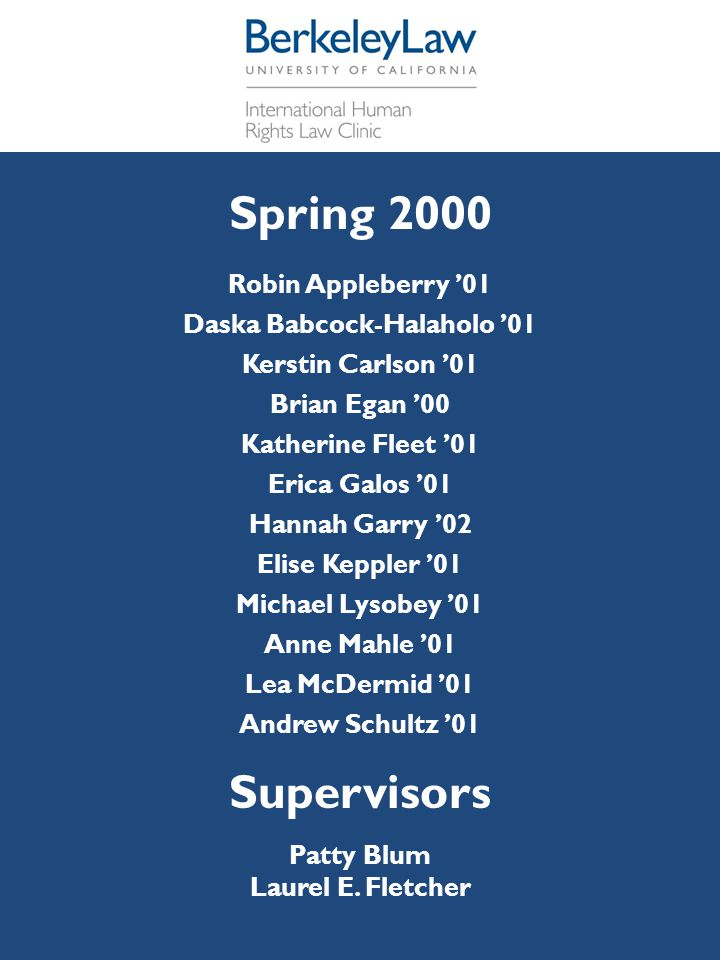 [ Spring 2000 Robin Appleberry '01 Daska Babcock-Halaholo '01 Kerstin Carlson '01 Brian Egan '00 Katherine Fleet '01 Erica Galos '01 Hannah Garry '02