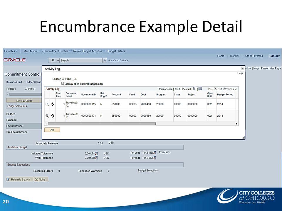 20 Encumbrance Example Detail 20