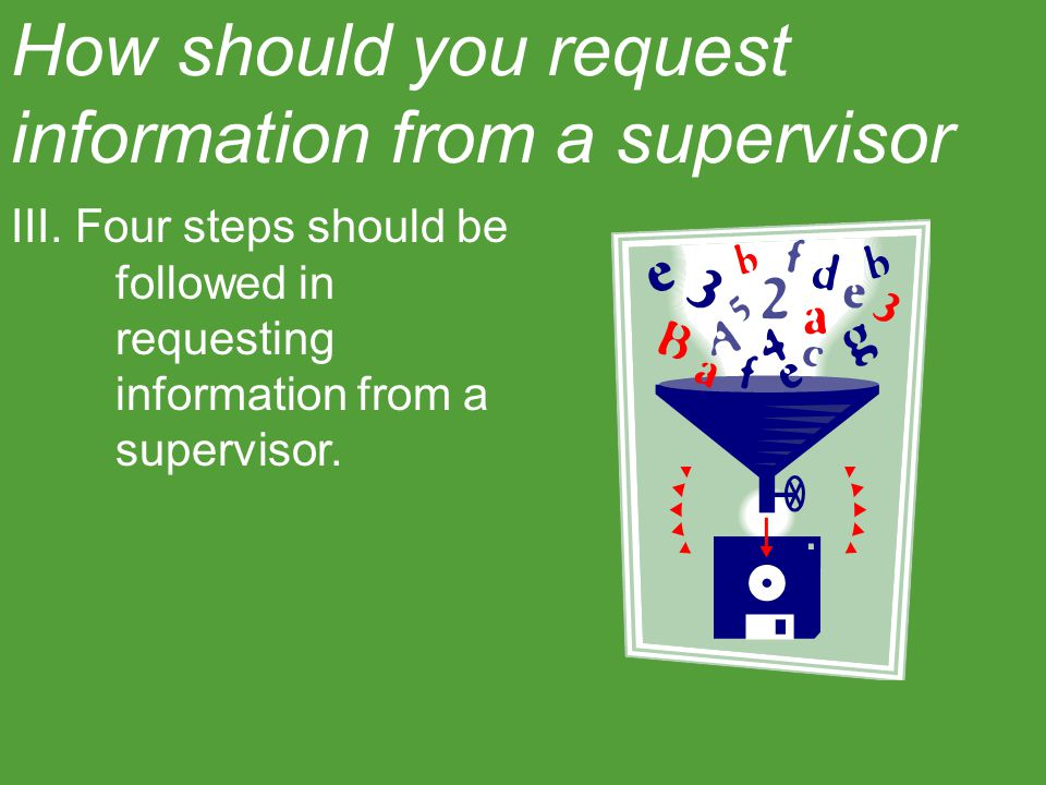 How should you request information from a supervisor? III. Four steps should be followed in requesting information from a supervisor.