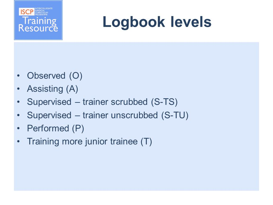 Logbook levels Observed (O) Assisting (A) Supervised – trainer scrubbed (S-TS) Supervised – trainer unscrubbed (S-TU) Performed (P) Training more junior trainee (T)