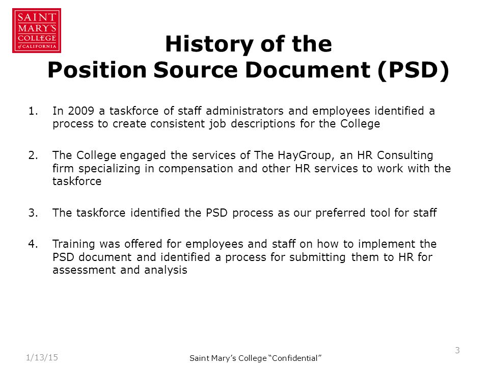 What is the purpose of a Position Source Document (PSD).