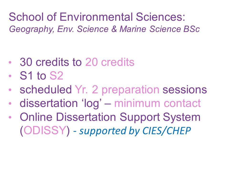 School of Environmental Sciences: Geography, Env.