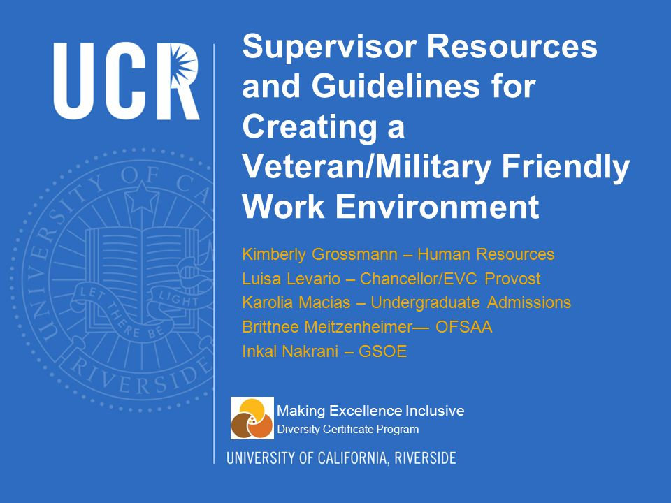 Create resources and guidelines for supervisors Help supervisors to maintain a Veteran/Military member friendly work environment at UCR Our solutions: Develop a pamphlet for supervisors Provide PowerPoint for training supervisors Establish and implement a mentoring program for both veterans and their supervisors Description of the Project Task