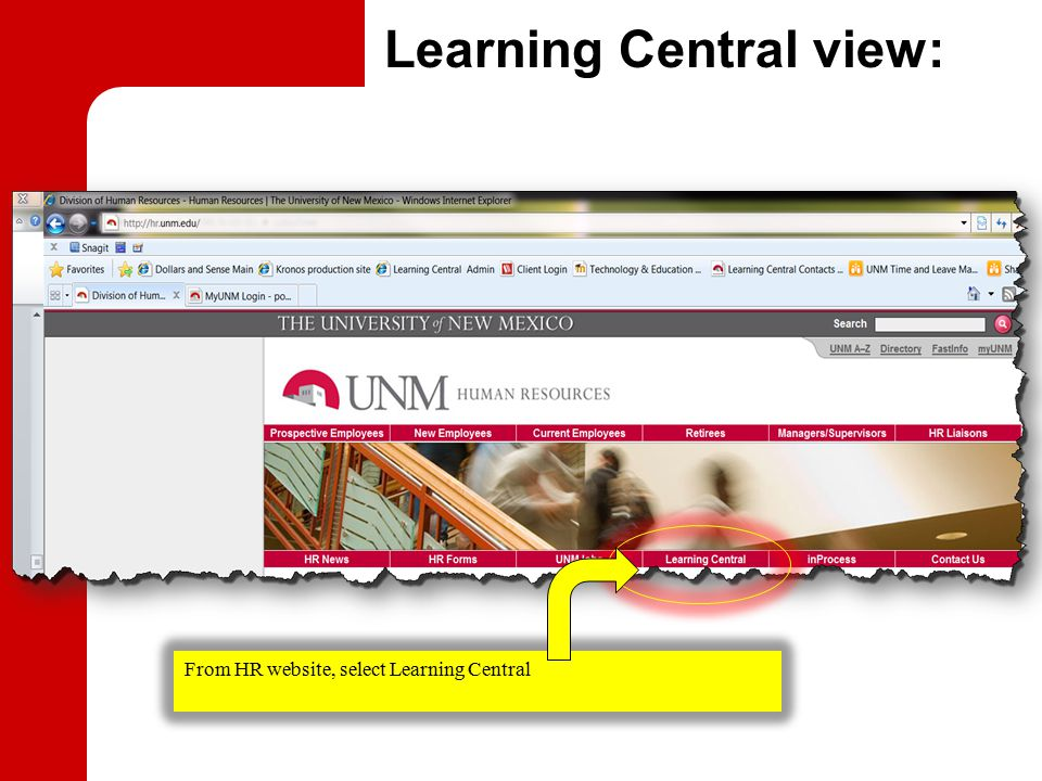 Learning Central view: From HR website, select Learning Central