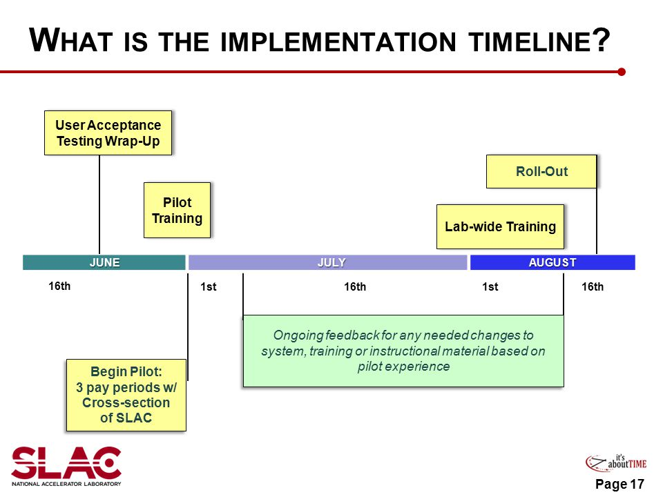 Page 17 W HAT IS THE IMPLEMENTATION TIMELINE .