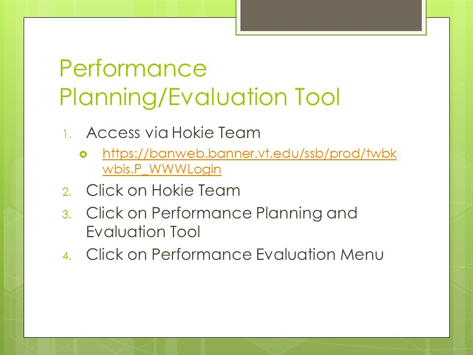 Performance Planning/Evaluation Tool 1.