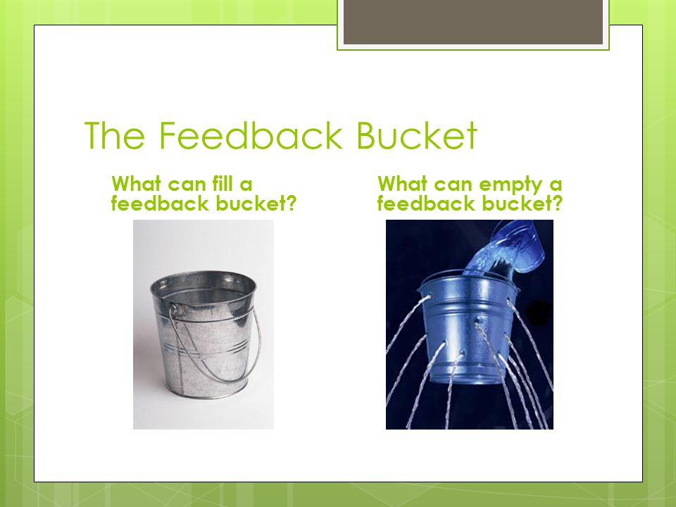 The Feedback Bucket What can fill a feedback bucket? What can empty a feedback bucket?