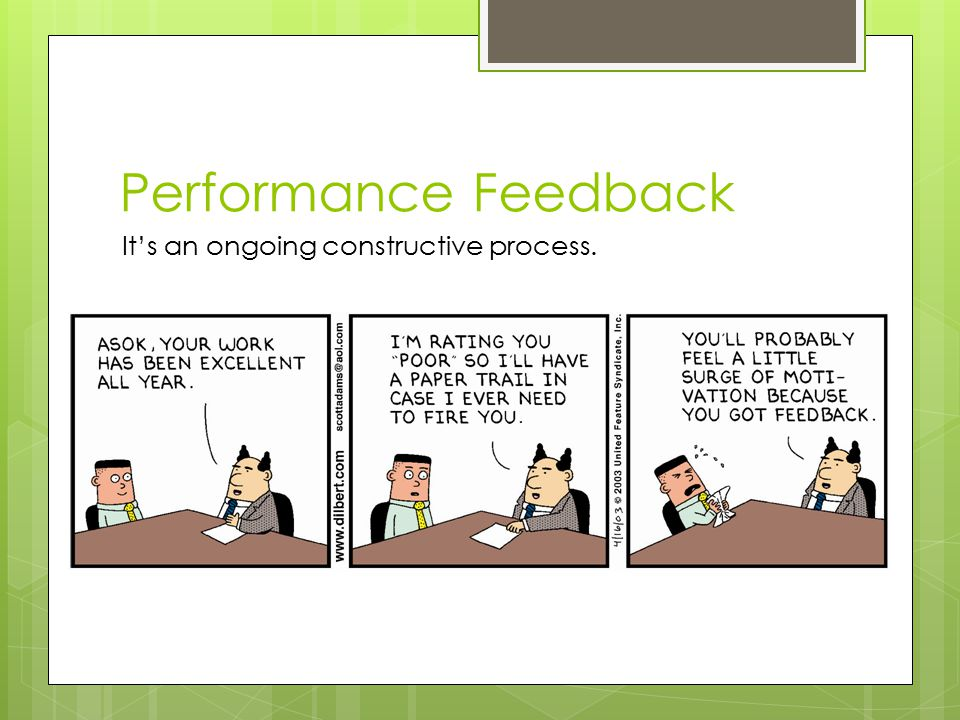 Performance Feedback It's an ongoing constructive process.